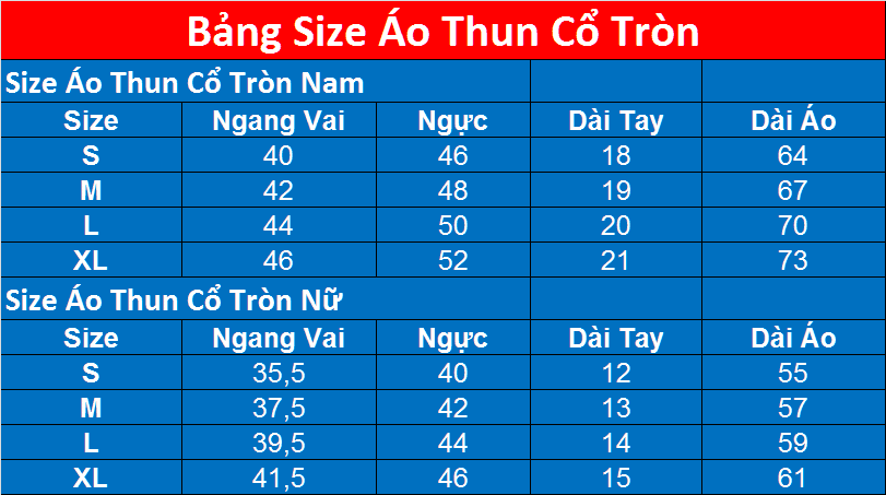 Size Dong Phuc Cong Ty Co Tron