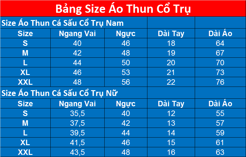 Size Dong Phuc Cong Ty Co Tru