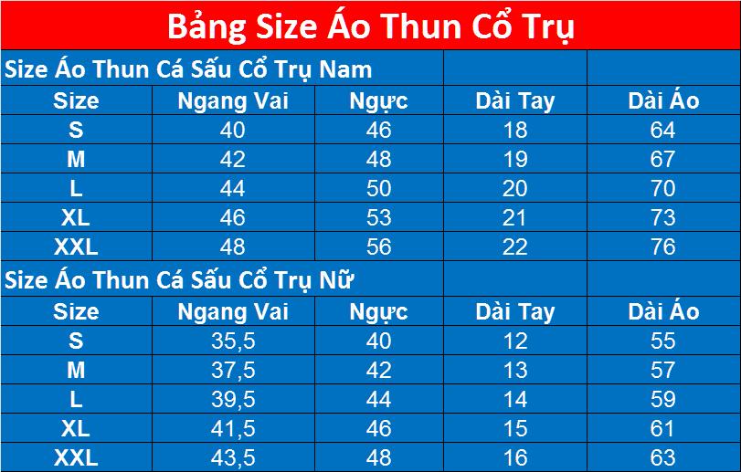 Size Ao Thun Nu