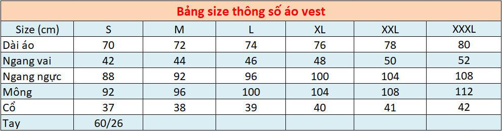 Bảng Thông Số Size áo Vest Công Sở